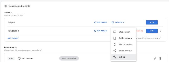 google optimize nedir, debug özelliği